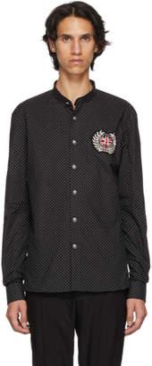 Balmain Black Polka Dot Badge Shirt