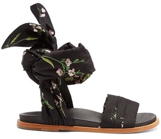 Marques Almeida Marques'almeida - Floral Embroidered Wrap Sandals - Womens - Black Multi