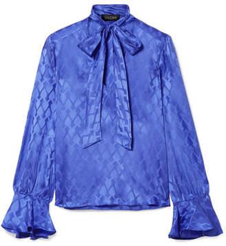 Saloni Lauren Pussy-bow Silk-satin Jacquard Blouse - Cobalt blue