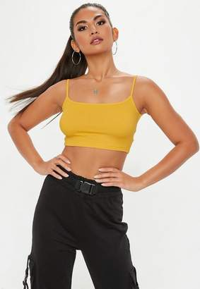Missguided Mustard Strappy Ribbed Bralette