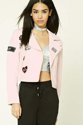 Forever 21 Patch Graphic Moto Jacket