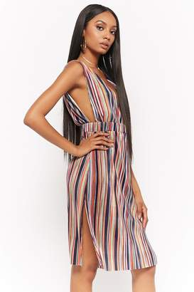 Forever 21 Striped Micro-Pleated Dress