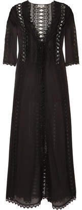 Charo Ruiz - Ali Crocheted Lace-paneled Cotton-blend Robe - Black