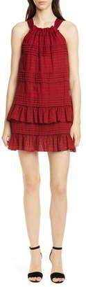 Rebecca Taylor Celia Ruffle Detail Cotton Shift Dress