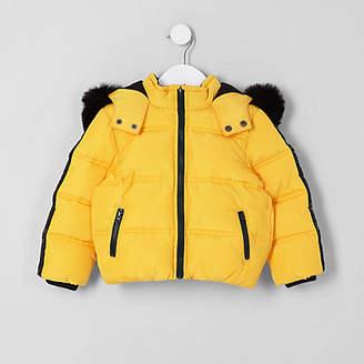River Island Mini boys yellow faux fur hood puffer coat