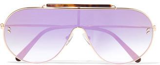 Oversized Aviator-style Gold-tone And Tortoiseshell Acetate Mirrored Sunglasses - Pink