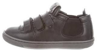 Louis Vuitton Boys' Leather Round-Toe Sneakers black Boys' Leather Round-Toe Sneakers