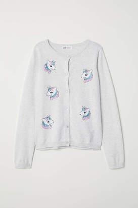 H&M Sequined Cotton Cardigan