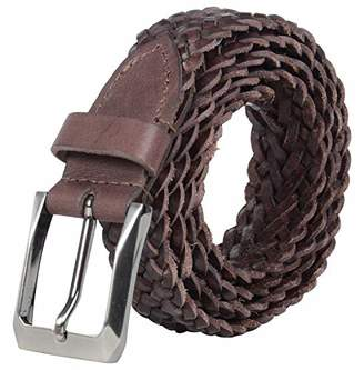 Men S Brown Leather Braided Belt Shopstyle