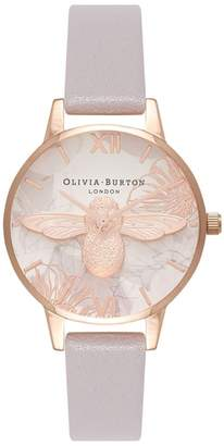 Olivia Burton Abstract Florals Leather Strap Watch, 30mm