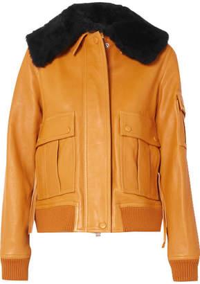 Victoria Beckham Victoria, Shearling-trimmed Leather Jacket - Orange