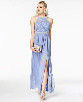 BCX Juniors' Embellished Lace Halter Gown, Created for Macy's
