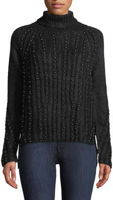 Goldie London Stardust Dome-Studded Turtleneck