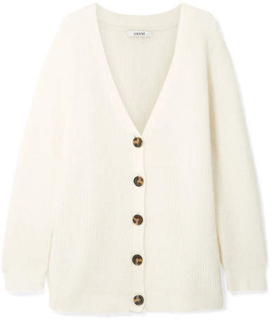 GANNI - Callahan Oversized Ribbed-knit Cardigan - Cream