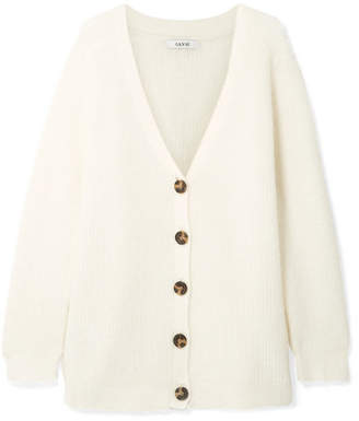 Ganni Callahan Oversized Ribbed-knit Cardigan - Cream