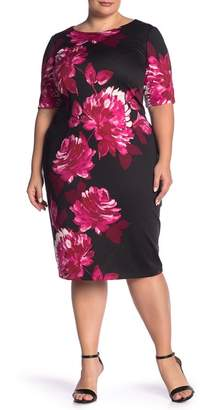 London Times Floral Fitted Elbow Sleeve Dress (Plus Size)