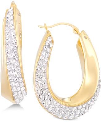 Swarovski Signature Gold Crystal Hoop Earrings in 14k Gold over Resin, Created for Macy's