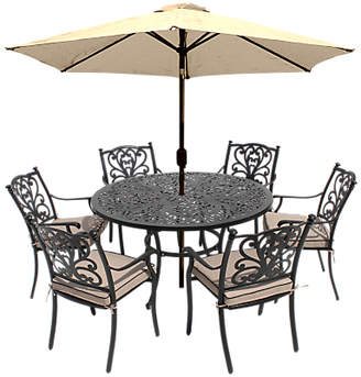 LG Electronics Outdoor Devon 6 Seater Garden Dining Table and Chairs Set with Parasol, Bronze