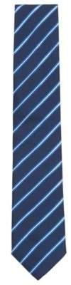BOSS Hugo Striped Italian-made silk-jacquard tie One Size Open Blue