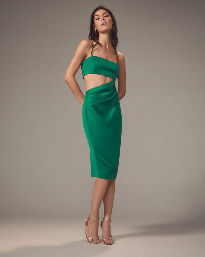 Misha Selena Cutout Emerald Midi Dress