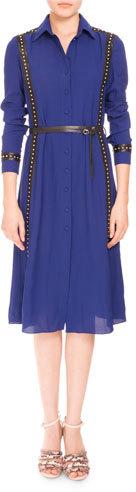 AltuzarraAltuzarra Studded Long-Sleeve Belted Shirtdress, Royal Blue