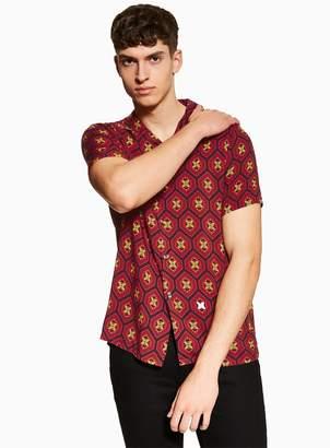 Red Geometric Print Revere Shirt