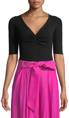 Milly Shirred Half-Sleeve V-Neck Top