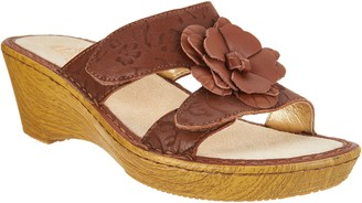 Alegria Leather Wedge Sandals w/Flower Detail - Lana
