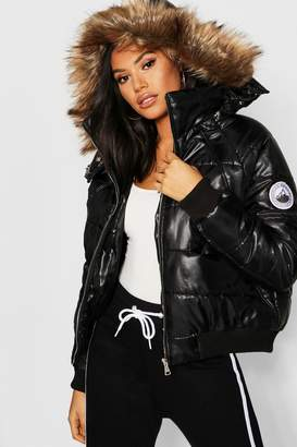 boohoo Tall Faux Fur Trim Puffer Jacket