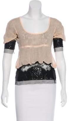 Rochas Embellished Short Sleeve Top