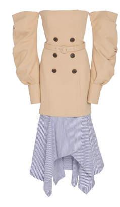 Jonathan Simkhai Twill Tailored Off The Shoulder Corset Dress