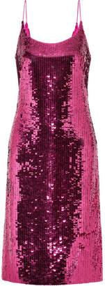 Oscar de la Renta Sequined Silk-blend Chiffon Dress - Fuchsia