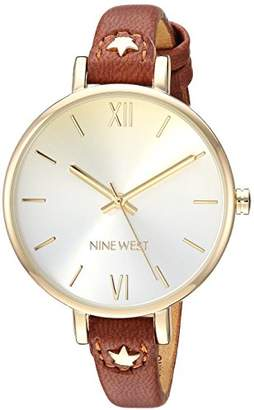 Nine West Women's NW/2124CHLU Gold-Tone and Brown Strap Watch