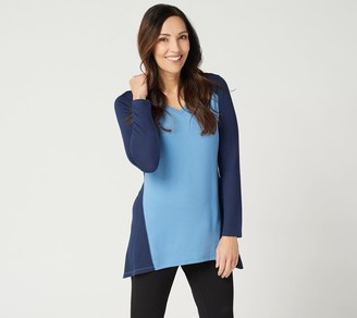 Denim & Co. Active Regular Heavenly Jersey Colorblocked Tunic