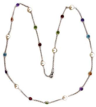 Vintage 14K White Gold with Peridot, Garnet, Blue Topaz, Citrine, Amethyst & Pearl Necklace