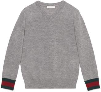 Gucci Stripe Cuff V-Neck Merino Wool Sweater