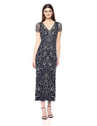 Pisarro Nights Women's Long V-Neck Dress with Beaded Motif