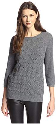 James & Erin Women's Boatneck Cable Cashmere Sweater