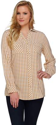 Denim & Co. Long Sleeve Gingham Woven Shirt with Roll Tab