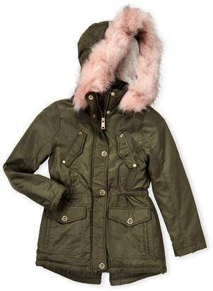 Urban Republic Girls 7-16) Faux Fur Trim Hooded Coat