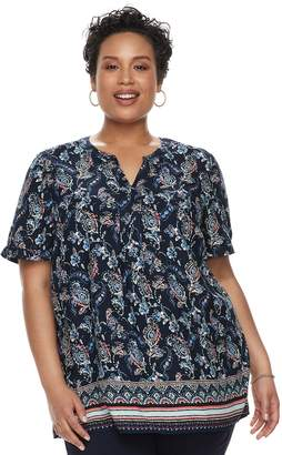 Croft & Barrow Plus Size Print Popover Top