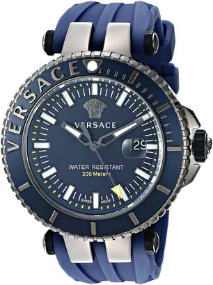 Versace Men's 'V-Race Diver' Swiss Quartz Stainless Steel and Silicone Casual Watch, Color: (Model: VAK020016)