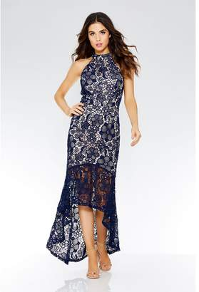 Quiz Navy And Nude Crochet High Neck Dress
