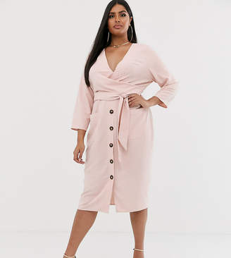 Asos DESIGN Curve button through tie wrap around midi dress