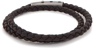 Bottega Veneta Double Intrecciato Woven Leather Bracelet - Mens - Black