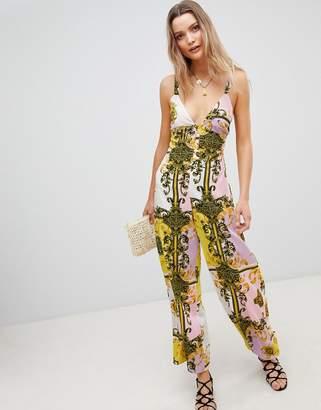 Asos Design DESIGN pastel baroque print wide leg beach jumpsuit
