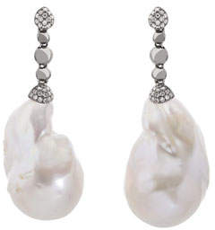 Michael Aram Molten Drop Earrings w/ White Baroque Pearls