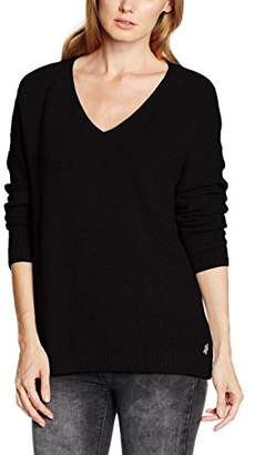 School Rag Women's S31500296D V-Neck Long Sleeve Jumper - Black