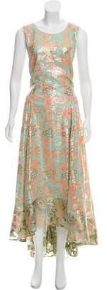 Tory Burch Metallic Silk Maxi Dress