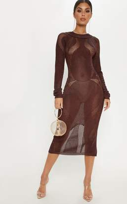 PrettyLittleThing Brown Metallic Midi Cut out dress
